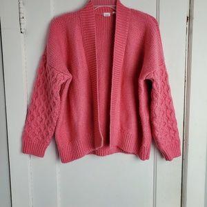 Gap open front cardigan pink color size M petite